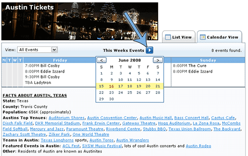 TicketCity City Information Weekly Calendar View Select Week