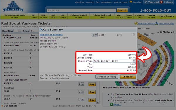 TicketCity Cart Highlighted