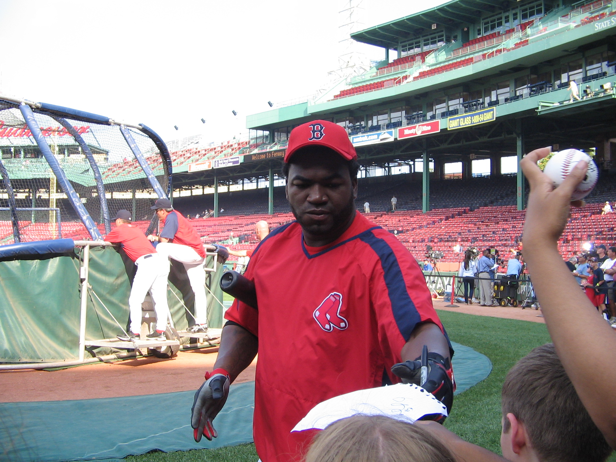 Red Sox's David Ortiz signs autographs prior to the game
