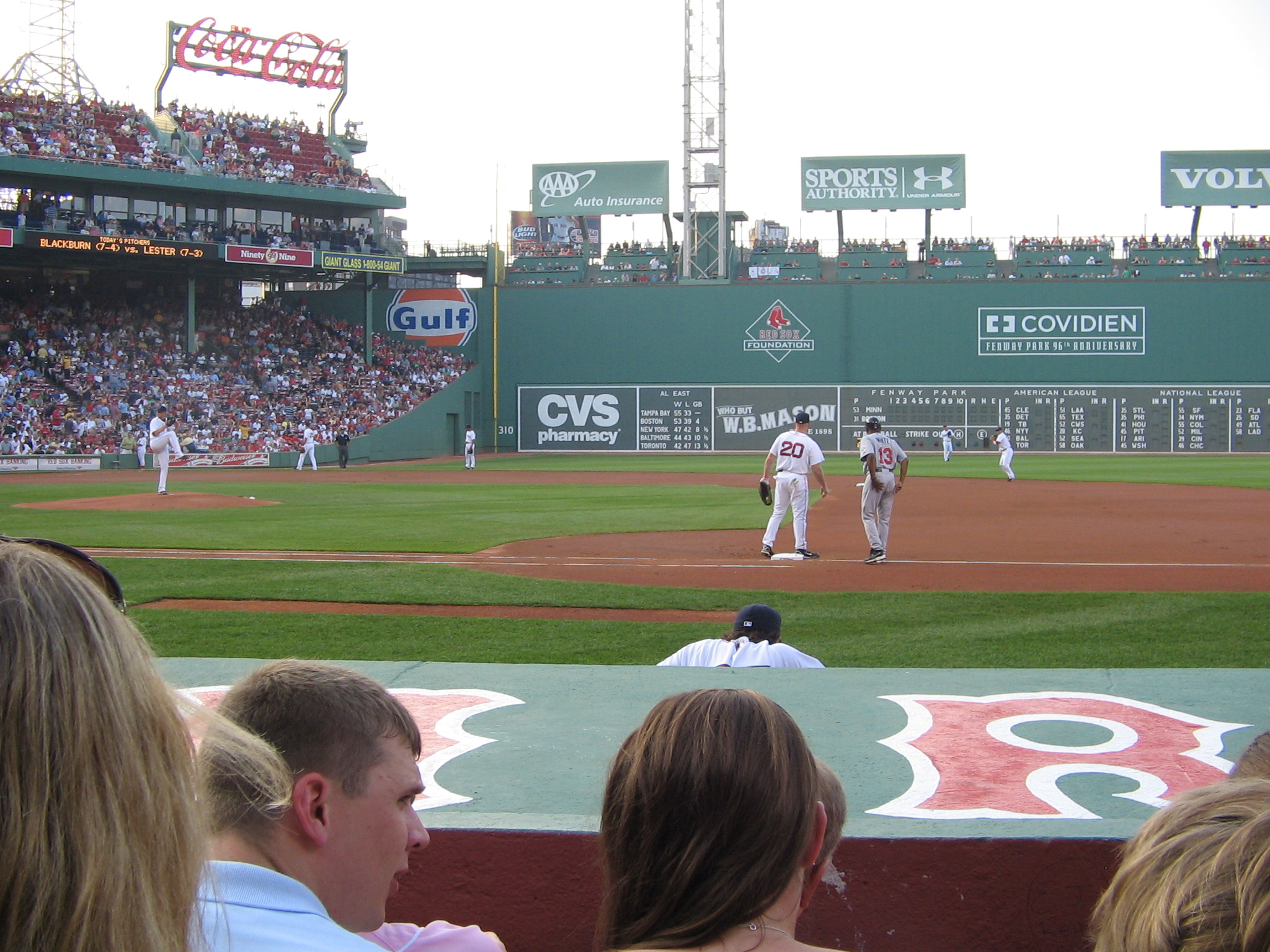 First inning view from the seats at Fenway Park