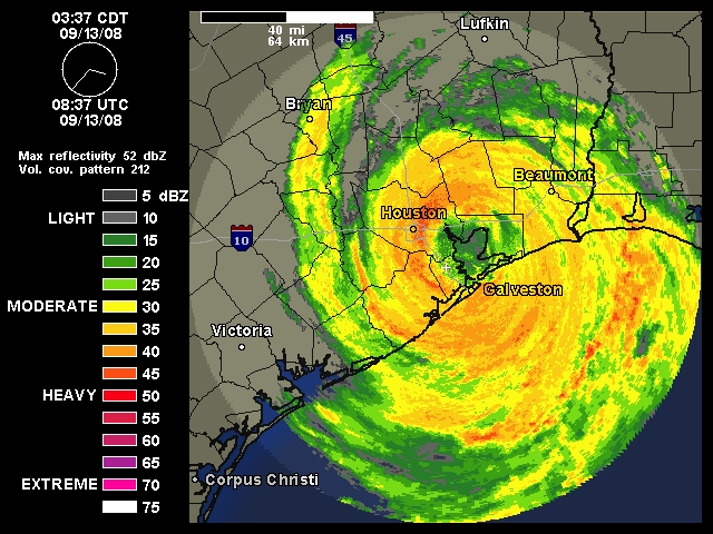 Hurricane Ike strikes the Texas Coast