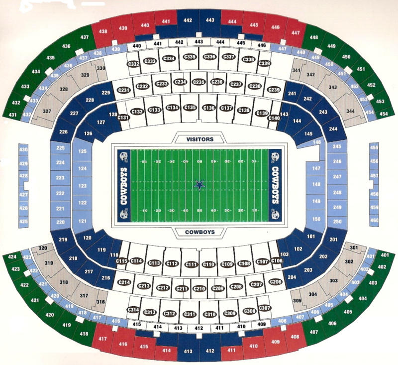 New dallas cowboys stadium seating chart arlington 2009 for Mercedes benz stadium layout