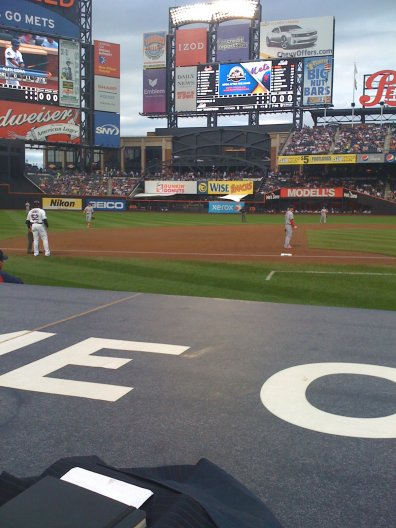 View of action at Citi Field ballpark