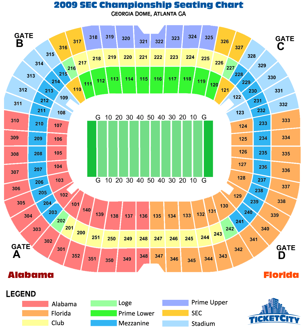 2009 SEC Championship Seating Chart Georgia Dome