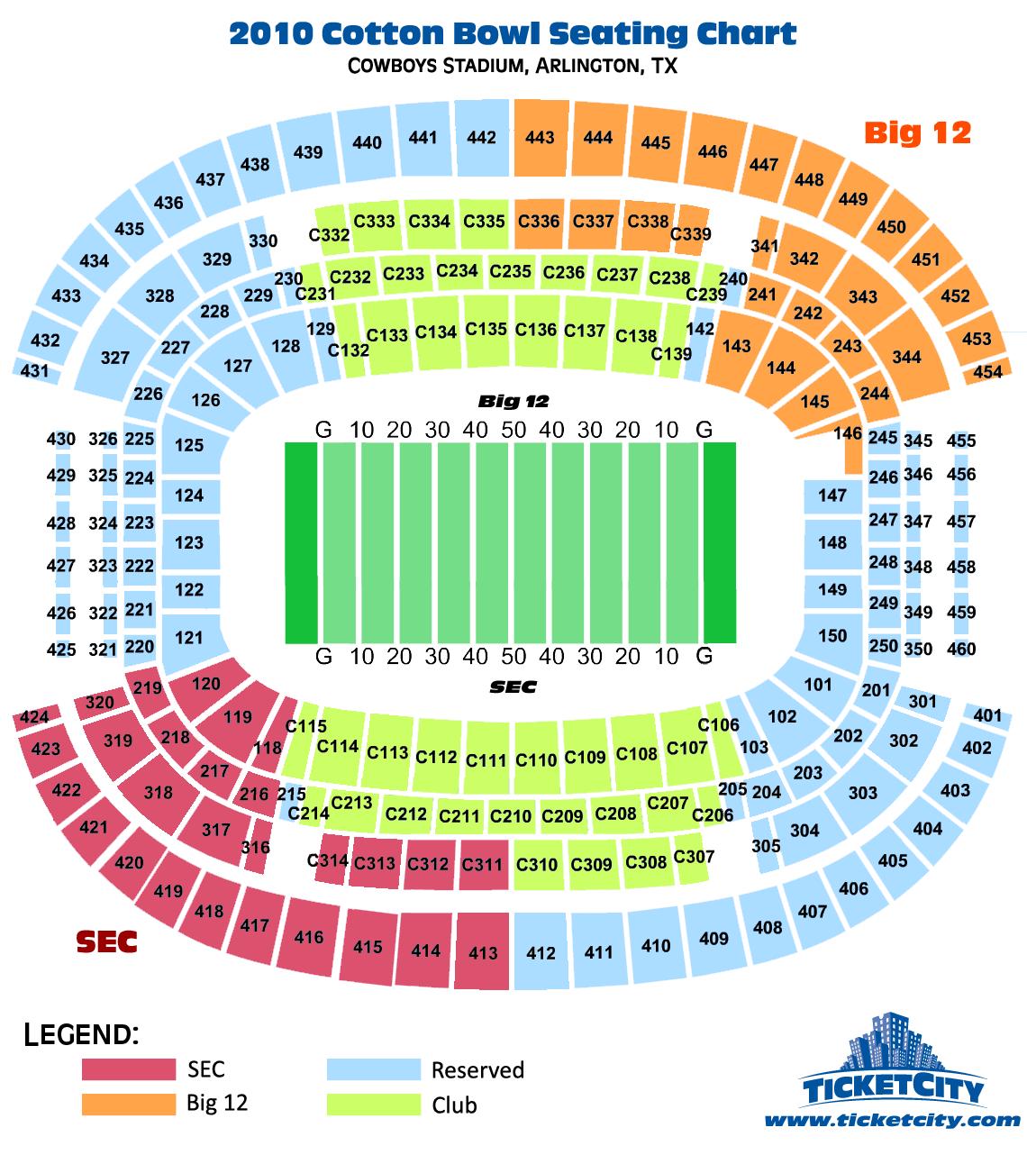 2010 Cotton Bowl Cowboys Stadium Seating Chart