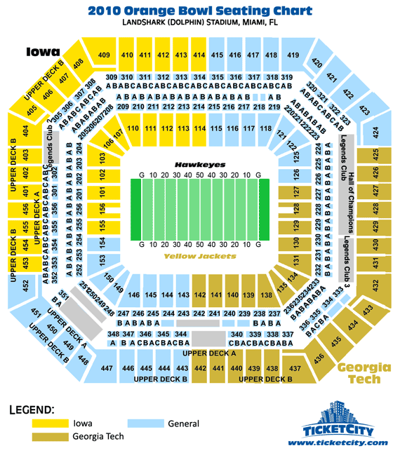 LandShark Stadium 2010 Orange Bowl Seating Chart