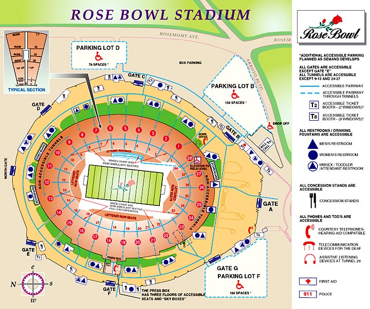 rose bowl stadium info seating chart