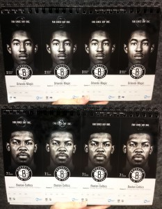 Maybe I'm just a sucker for black and white but the Nets tickets were my favorite use of player photos. Each game showed a stark photo of a different player, almost hauntingly emerging from the darkness. While not as intense as some of the others, these tickets effectively showcase each player in a focused spotlight with no distractions.