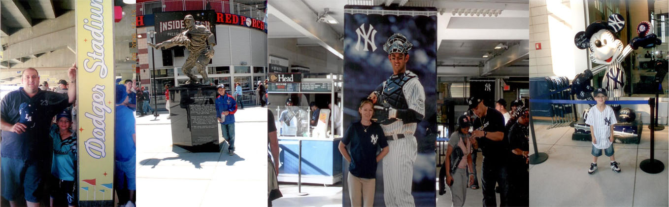 The Tadros at the Dodgers Stadium, Nationals Stadium, and Yankee Stadium.