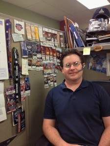 Chris and his impressive ticket stub collection!