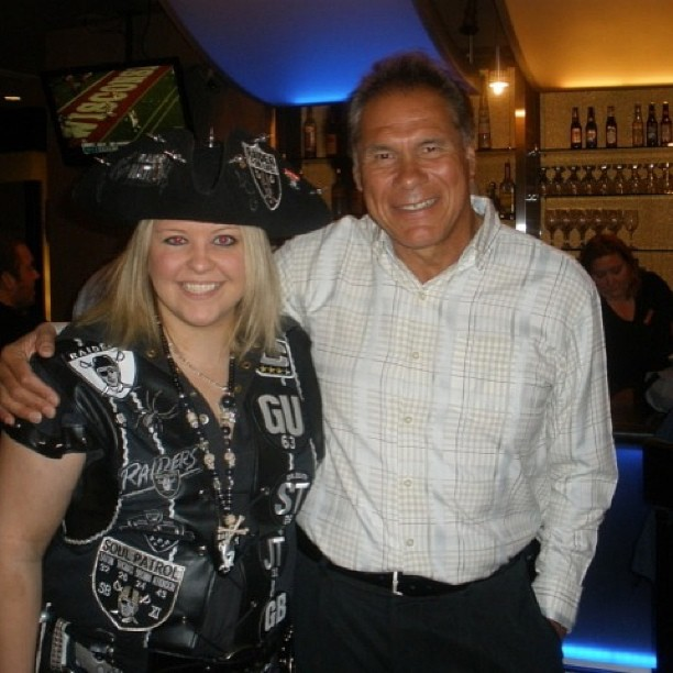 @ticketcity #RightToBrag Hey TICKET CITY! I have the right to brag because I'm the biggest RAIDERS fan! I snapped this picture of myself with Raiders legend Jim Plunkett last year in Kansas City!  -  Photo by @blackwidowraiderette