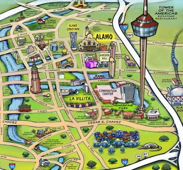 Map of the Alamo City