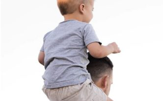 Kid on Dad's shoulders